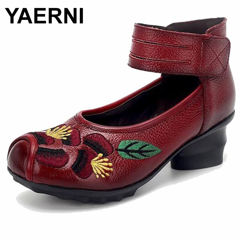 YAERNI 2018 Spring and summer Ethnic Style Genuine Leather Handmade Shoes Women Mid Heels Pumps Round Toe High Heels E490 yaerni 2017 retro style women shoes flats platform handmade flower genuine leather thick heels round toe women causal shoes