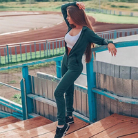 Hot One Piece Sexy Jumpsuit Long Sleeve Trousers Playsuit Streetwear Zipper Tights Hooded Overalls For Women Bodysuit