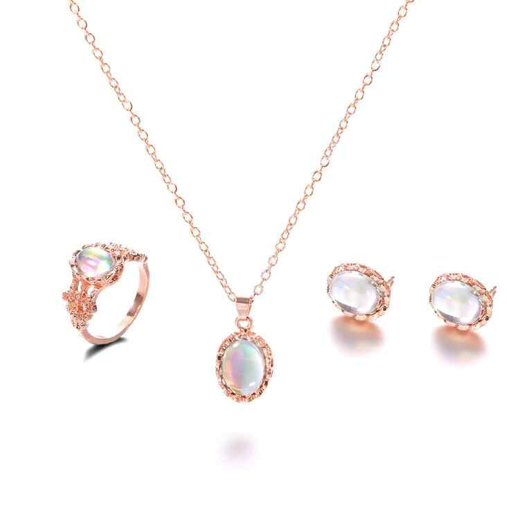 High Quality Hot Vintage Opal Jewelry Sets For Woman Pendant Necklaces Water Drop Earrings Ring Gold Color Wedding Jewelry Gifts