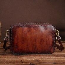 Die neue vintage handtaschen leder tasche Vintage Handgemachte Leder Umhängetasche kleine pinsel farbe