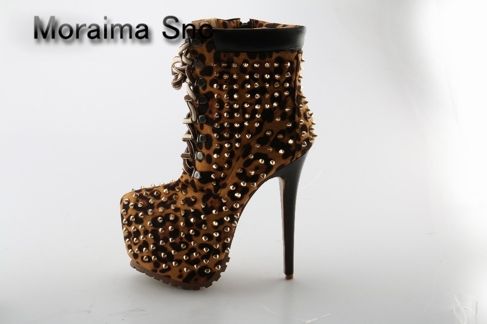 Moraima Snc Top Quality Sexy Round Toe Ladies Shoes Lace-up Leopard Leather Spike Platform Ankle Boots Rivet High Heels Boots cuculus 2018 women boots fashion pu leather round toe ankle boots sexy lace ladies high heels platform shoes woman 331