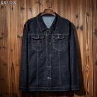 TOP free shipping men's plus size male loose denim jacket M 8xl Turn down Collar coat big size Chinese style male