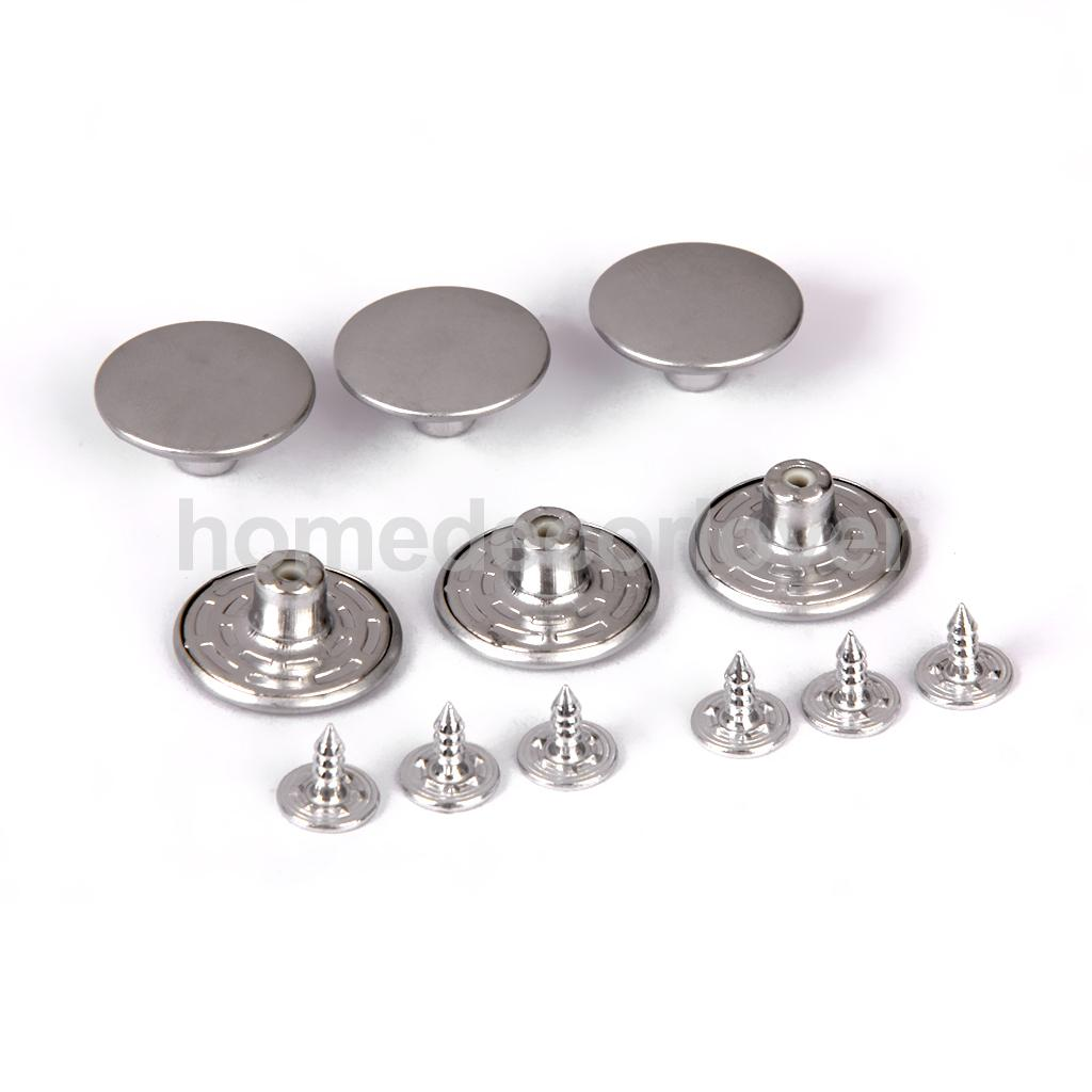 6 Sets 20mm Hammer On Denim Jeans Buttons Studs Silver with Punch Tool Kit