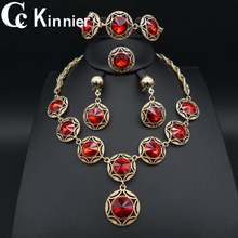 2019 classic Wedding engagement crystal  African Dubai  bridal bridesmaid  jewelry set for women necklace earrings rings