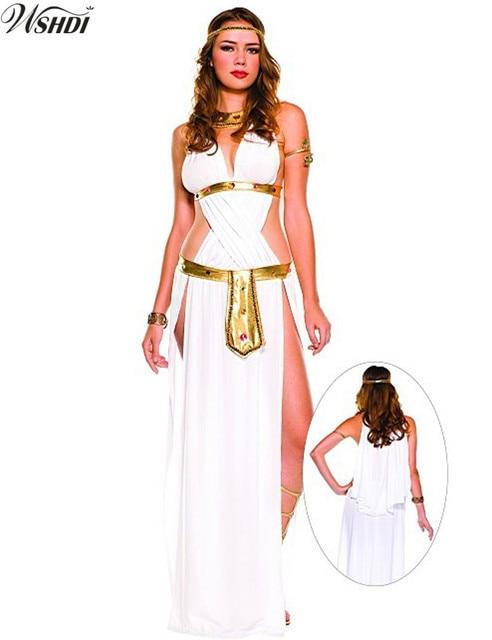 d39455663d8f1d Wit Sexy Egyptische Cleopatra Kostuum Dames Cleopatra Romeinse Toga Gewaad Griekse  Godin Kostuum Halloween Party Fancy