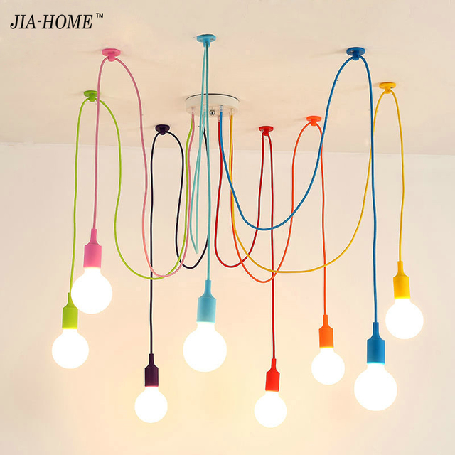 Modern Pendant Lights 13 Colors Diy Lighting Multi Color Silicone E27 Bulb Holder Lamps Home Decoration 4 10 Fabric Cable