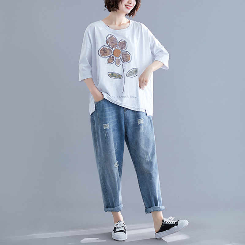 Johnature Women Summer Tops 2019 New Casual Comfortable Loose Printing Short Sleeve O-neck Fashion Leisure 3 Colors T-shirts