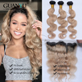 7A Peruvian Human Virgin Hair Body Wave 3 Bundles With Ear To Ear 13*4 Lace Frontal Closure Ombre # 1B/27 Free Shipping