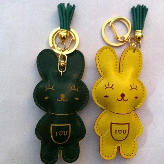Envío gratis! HOTSALE 2014 de cuero lindo conejo Animal bolsa llavero Key Hanger para mujeres hombres venta al por mayor 12 unids/lote