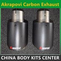 Vente chaude 57mm/101mm universelle en fiber de carbone coupé acier inoxydable akrapovic d'échappement astuce pour système d'échappement de voiture style pipe