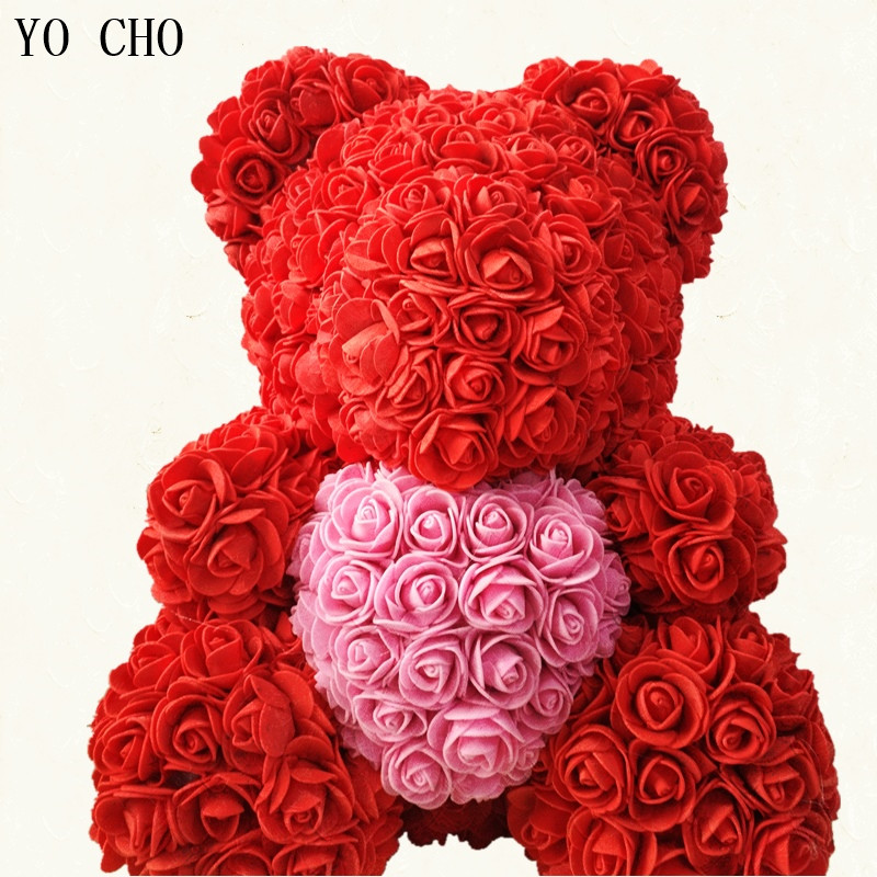 Craft Toys Romantic Diy Carft Rose Bear Rose Toys Flower Artificial Christmas Gifts For Women Valentines Day Gift Rose Bear Online Discount