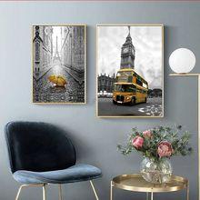 цены на Eiffel Tower Decorative Painting British Big Ben European American City Landscape Living Room Painting Cuadros Decoracion Salon  в интернет-магазинах