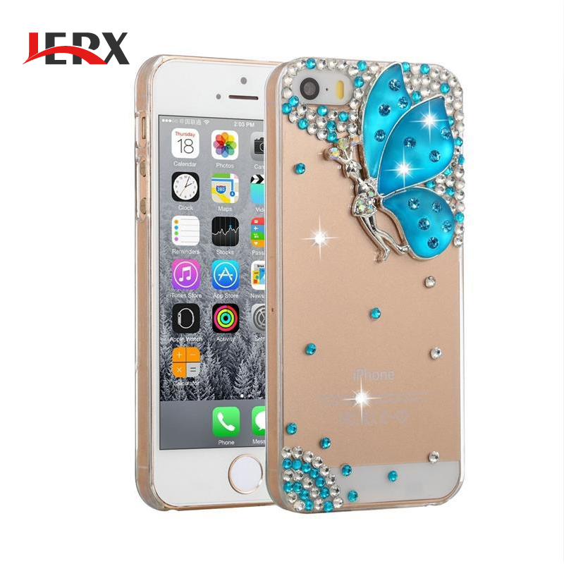 JERX Crystal Diamond Case Glitter Rhinestone Card Slot Leather Phone Cover For Samsung Galaxy S6/S7/Note5