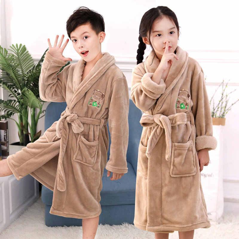 Высокое качество; детские халаты; зимняя Пижама для мальчиков супер мягкий халат для девочек и удлинения ресниц всего за утепленные, фланелевые пижамы, банные халаты для детей