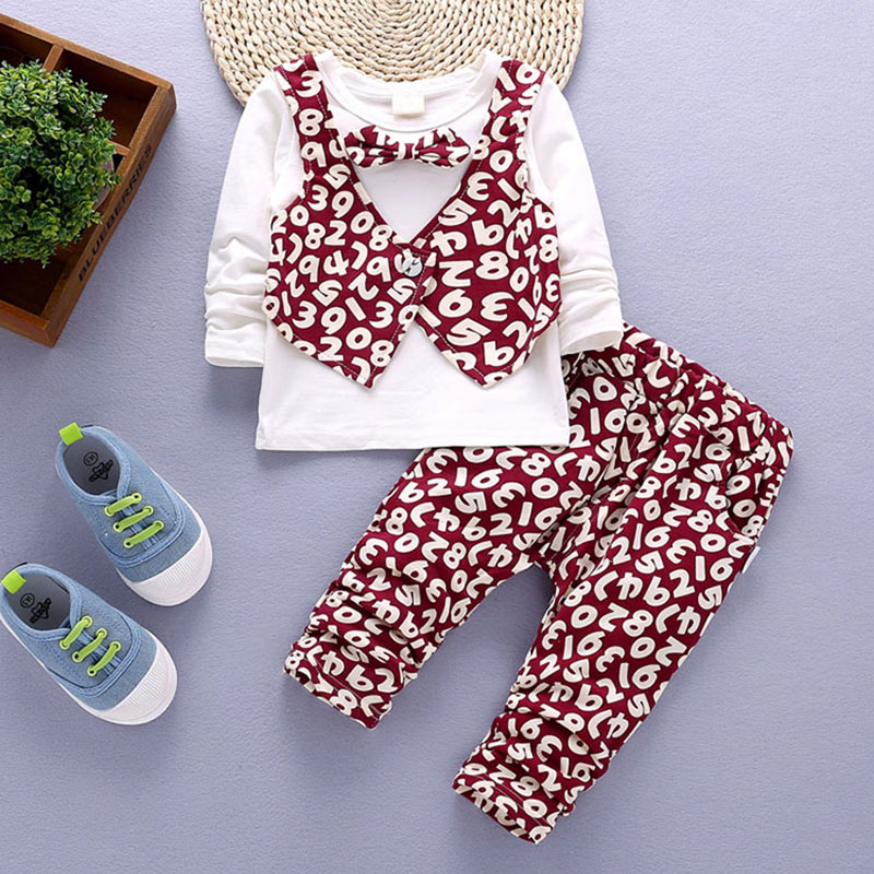 Весенние комплекты одежды с длинными рукавами для Newbons для маленьких мальчиков Мода цветок Верхняя одежда для малыша одежда Костюмы детска...