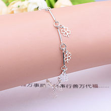 New Style Stamped Silver Plated Bracelet Four Leaf Clover Charm Bracelet & Bangle for Women Wedding Party Jewelry Gifts(China)