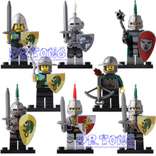 DR TONG Single Sale XH0148 Medieval Knights Gladiatus Figures Kingdom Knight Frieghtening Dragon Kinight Building Blocks