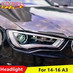 KOWELL Автомобиль Стайлинг для AUDI A3 фары 2014-2016 для A3 налобный фонарь led DRL спереди bi-ксеноновая линзы двойной луч HID комплект