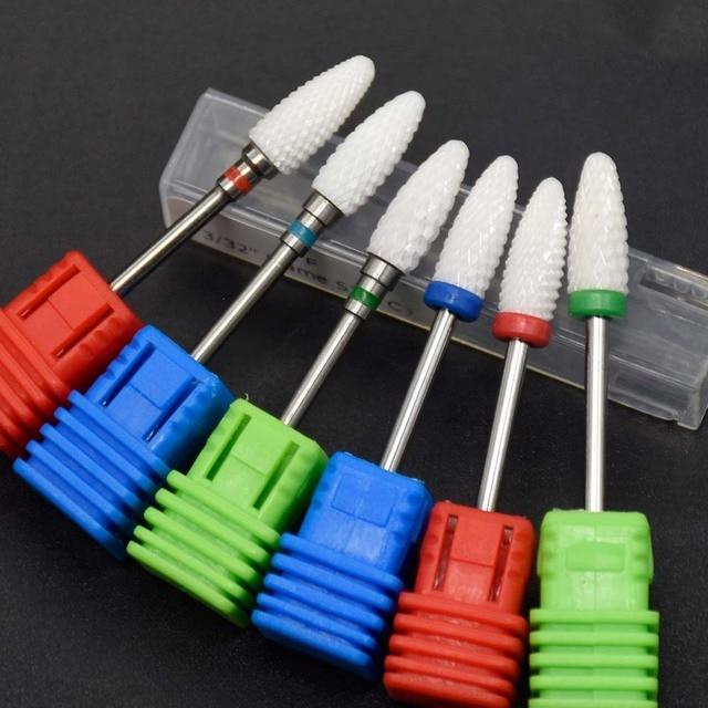 "3/32"" Ceramic Nail Drill Bit For Pedicure Machine Electric Bits Manicure Mill Cutter Nail Tools Remove Acrylic Gel Nail Polish"