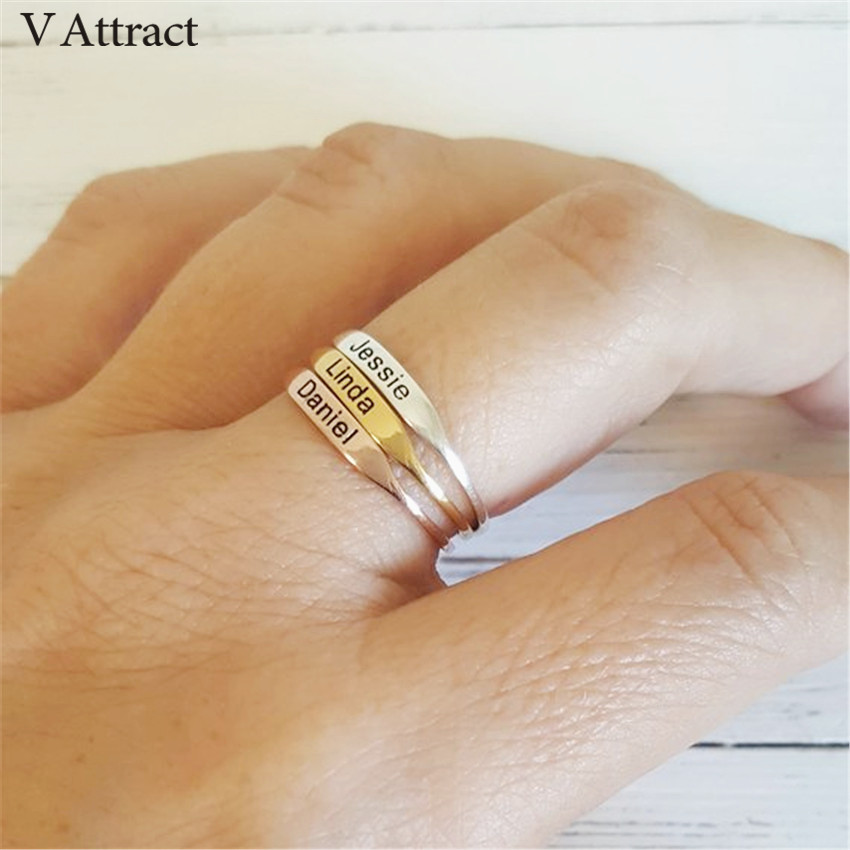 Gold Anillos Custom Jewelry Women Men Personalized Name Rings Wedding Bijoux Femme Silve ...