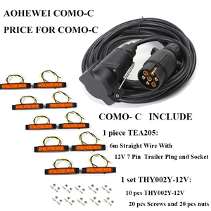 Image 2 - AOHEWEI 12V 6 meter straight cable wire 7 pin core plastic trailer plug socket connector adapter 12v 6led auto side marker light