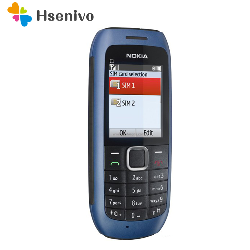 C1-00 Nokia Original Unlocked C1-00 Dual Sim Cardd Mobile Phones GSM Bar Cellphones One Year Warranty  Refurbished