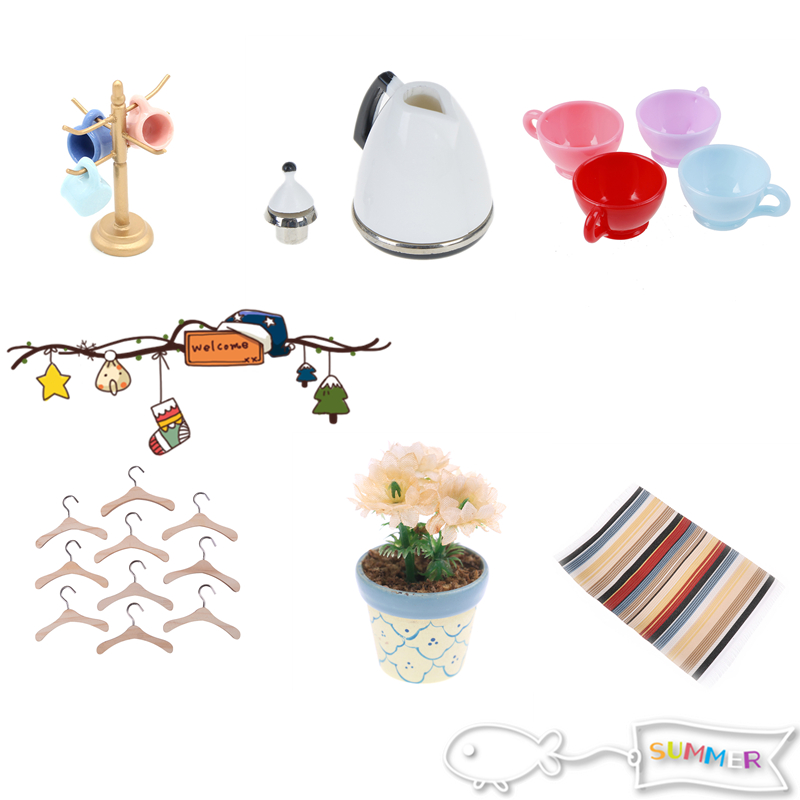 Miniature Living Room Kettle/Mat/Stand Holder Furniture Sets For Mini Children DollHouse Home Decor Kids Toy DollHouse Toys Gift