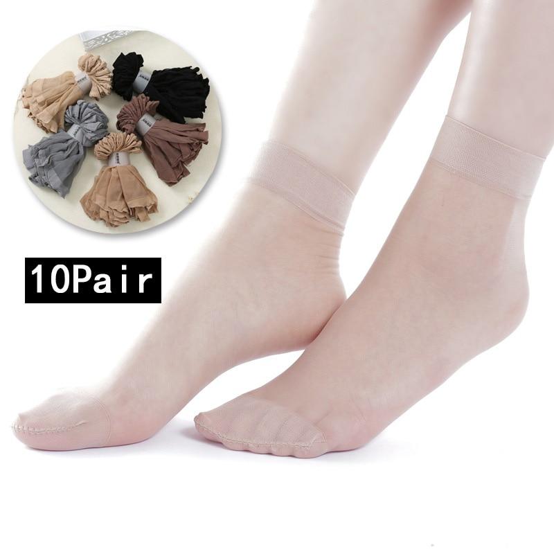 10 Pairs/ Lot New Summer Bamboo Female Short Socks Women's Socks Thin Crystal Transparent Silk Socks Girl Ankle Sox Black