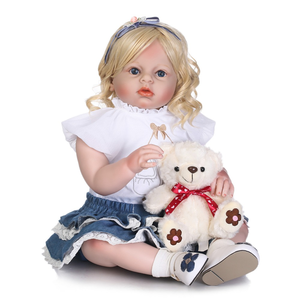 NPK grande taille 70 cm Silicone Reborn bébé poupées réaliste enfant en bas âge fille poupée jouets avec ours vêtements modèle enfants cadeau