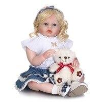 NPK Большой размер 70 см Силиконовые Reborn куклы реалистичные Малыша Кукла, игрушки для девочек с медведем одежда модель детского подарка