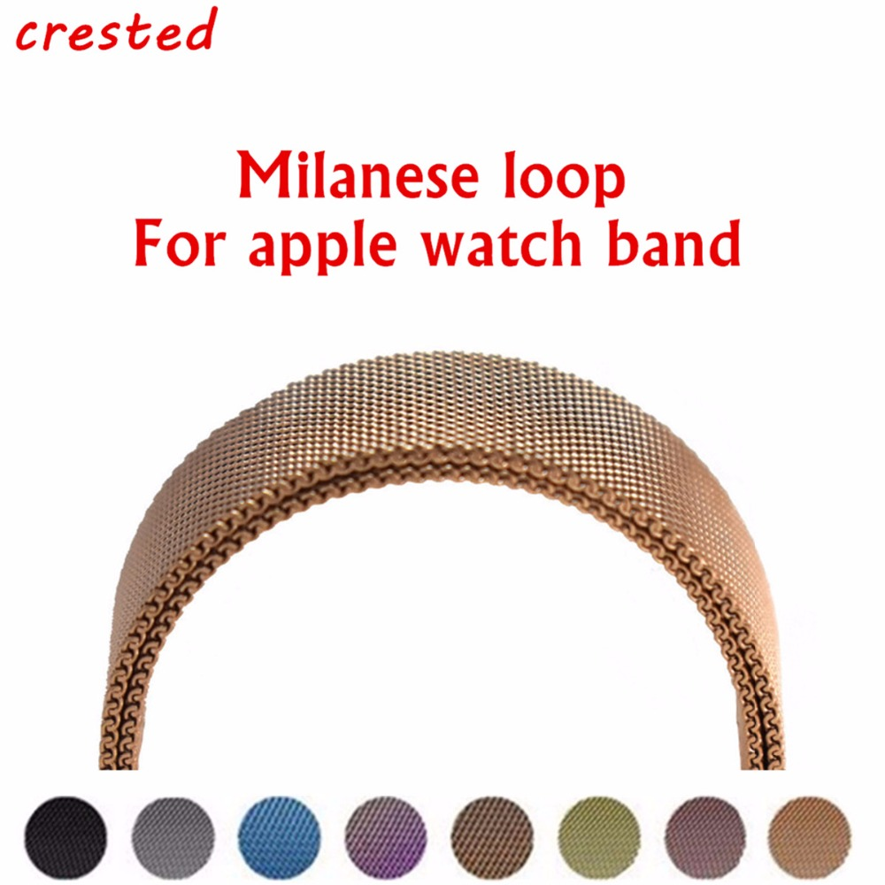 CRESTED Milanese Loop Per Apple Watch band 42mm/38mm iwatch 3 2 1 Link Bracciale In Acciaio Braccialetto da polso watch band cinghia