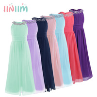 Elegant Girls Chiffon Sleeveless Flower Girl Dress Princess Pageant Wedding Bridesmaid Children S Birthday Party Dress