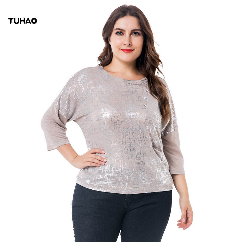 TUHAO High Quality Elegant Women   Blouses     Shirts   Plus Size 6XL 5XL Office Lady Work   Blouse   Tops for Mother Oversize Clothing ZPZ