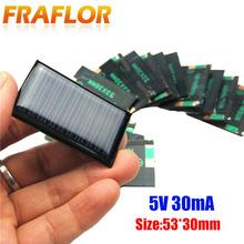 10 sztuk partia 5V 30mA 53X30mm Micro Mini mała moc ogniwa słoneczne Panel dla DIY zabawki 3 6V ładowarka lampa led na energię słoneczną ogniwo słoneczne tanie tanio Panel słoneczny 5V30mA 5V30MA53-30*10PCS Krzem polikrystaliczny 53*30*2 5mm 0 15W Fraflor