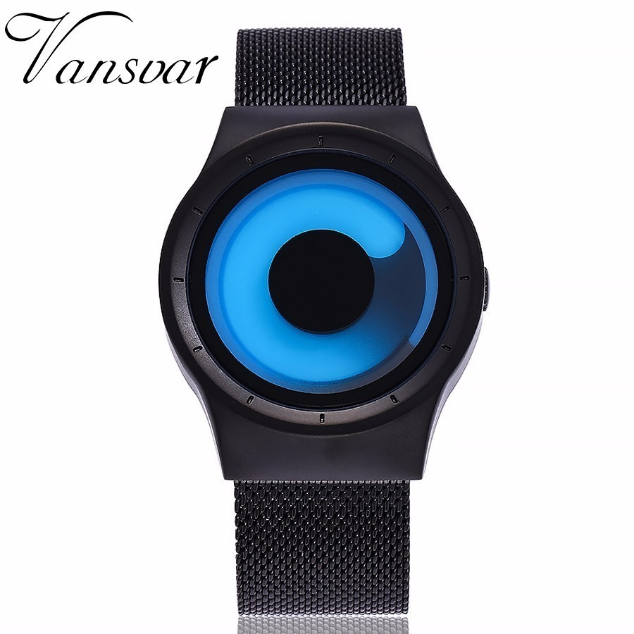 New Creative Rotation Men Watches Stainless Steel Mesh Strap Quartz Sport Watch Men Fashion Relogio Masculino Hot Sale