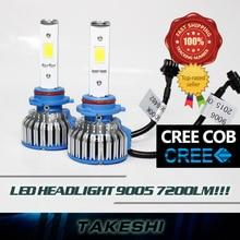 2x 9005 HB3 H10 High Power 48W 7200LM Set LED COB Car Headlight Super bright White