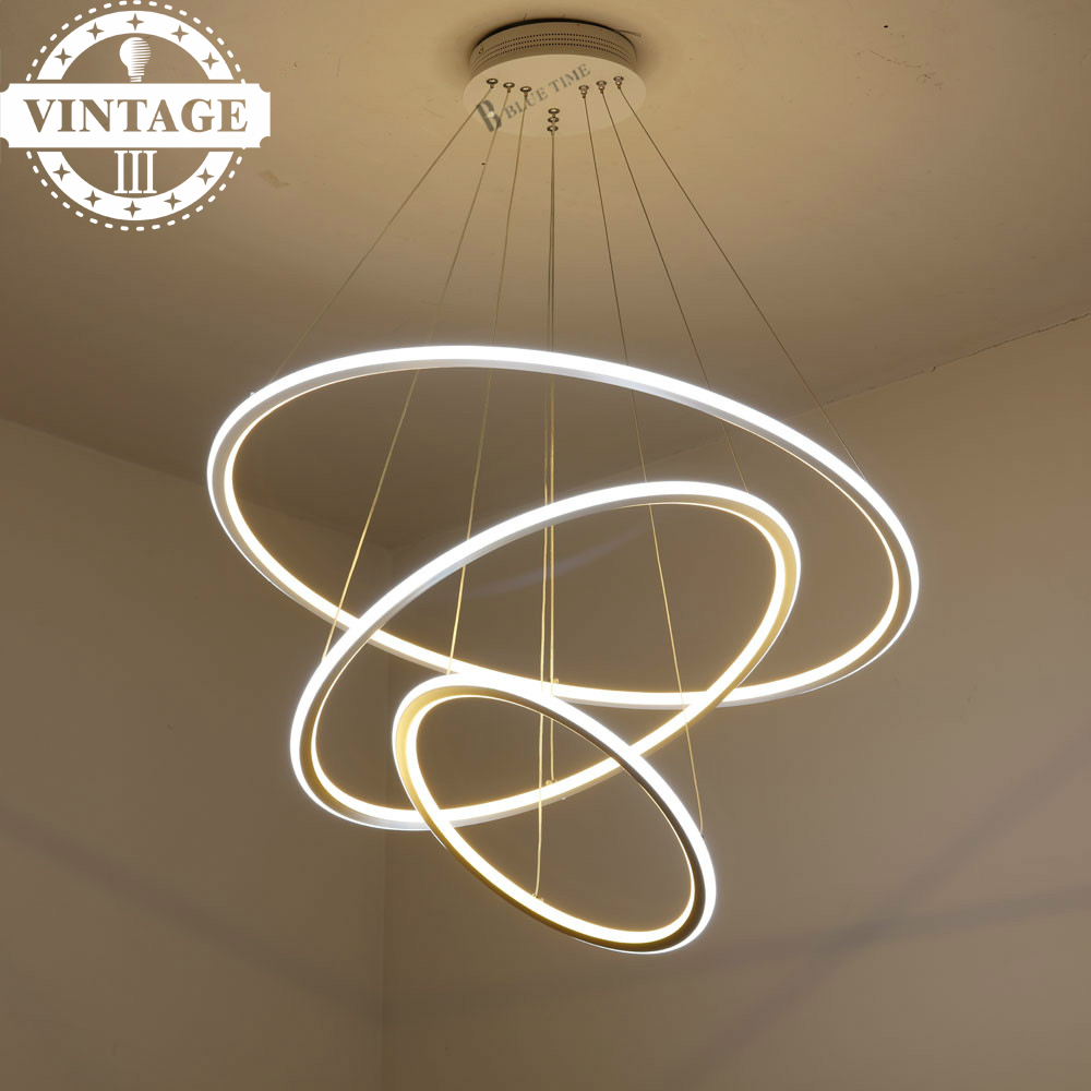 Lampe Salon Salle À Manger €36.15 9% de réduction|vintage salon/salle à manger led lustre lampe à  suspension moderne décoratif 3 anneaux de cercle led pendentif lumières  pour