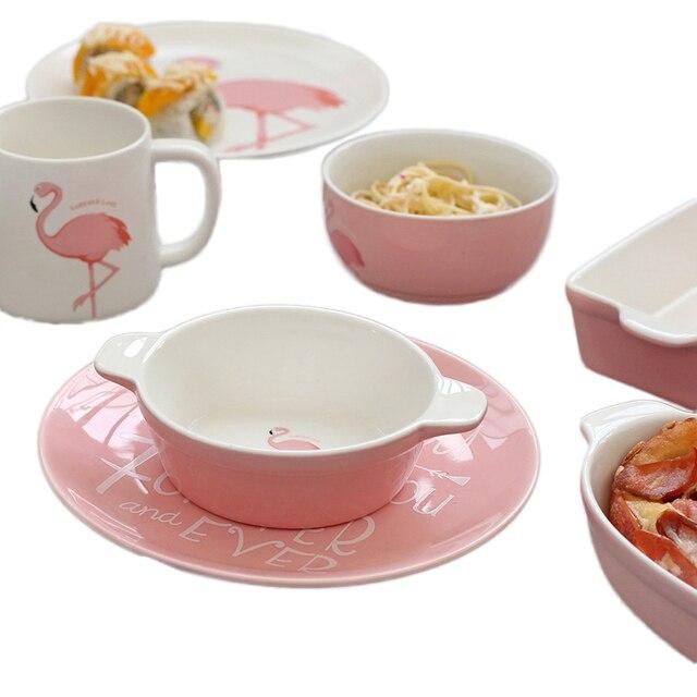 flamingo muster rosa keramik geschirr volle set tasse becher brei suppe schssel teller teller porzellan geschirr - Geschirr Muster