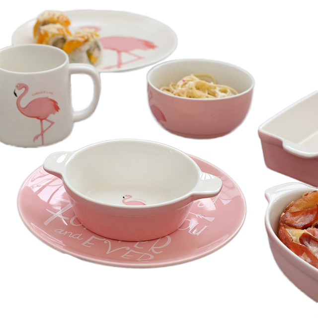 Flamingo Pattern Pink Ceramics Tableware Full Set Cup Mug Porridge Soup Bowl Dinner Plate Dish Porcelain Dinnerware 1pcs