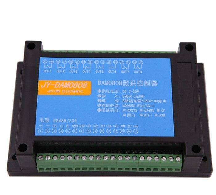 Saída de Relé de Controle Módulo de Controle Rs232 + Rs485 Serial Isolamento Optoacoplador Entrada Dam0808 pc