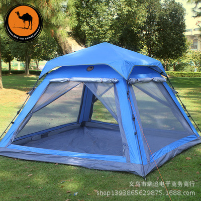 Genuine Camel outdoor tent automatic spinning four-door double tent camping outdoor double layer 10 14 persons camping holiday arbor tent sun canopy canopy tent