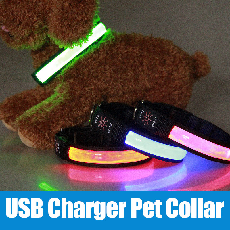 USB Rechargeable LED Dog Pets Safety Collar Super Bright Night Light Pet Neck Ring TB Sale ...