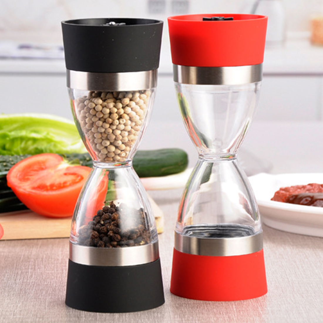 New 18cm Dual Grind 2 In 1 Stainless Steel Ceramic core Pepper Salt Spice Seasonings Circle Grinder Mill Coarse To Fine Grain moulin à sel et poivre