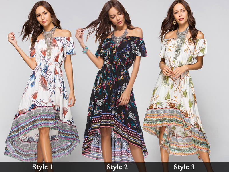 Women Summer Off Shoulder Bohemian Dress Boho Mid-Calf Wrap Dresses Casual Loose Beach Floral Print Beachwear Vestidos 6