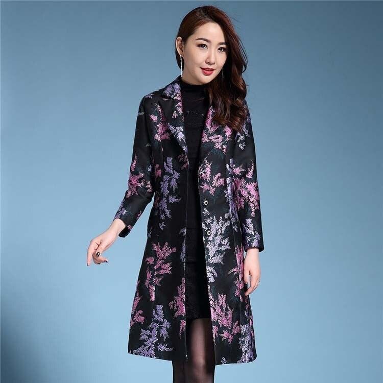 Большие размеры S 4XL 2018 Тренч женский с круглым вырезом жаккардовая верхняя одежда Добби женские тренчи мать цветок из текстиля пальто тренчи - 3