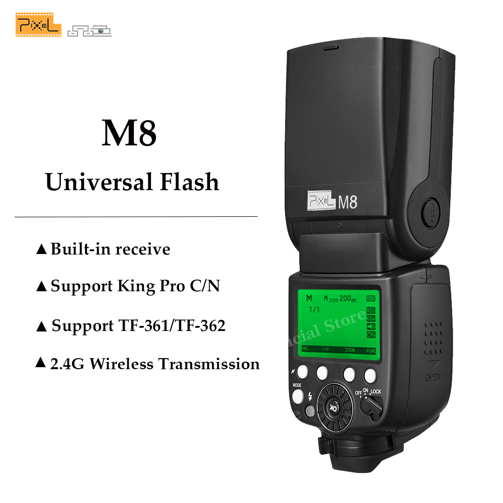 Pixel GN60 Flash Speedlite with Built-in 2.4G Wireless For Canon Nikon Sony Panasonic Olympus Pentax Cameras VS YN560IV JY-680A pixel m8 wireless universal speedlight flash light gn60 for canon nikon sony pentax fujifilm lumix dslr camera vs jy680a yn560iv