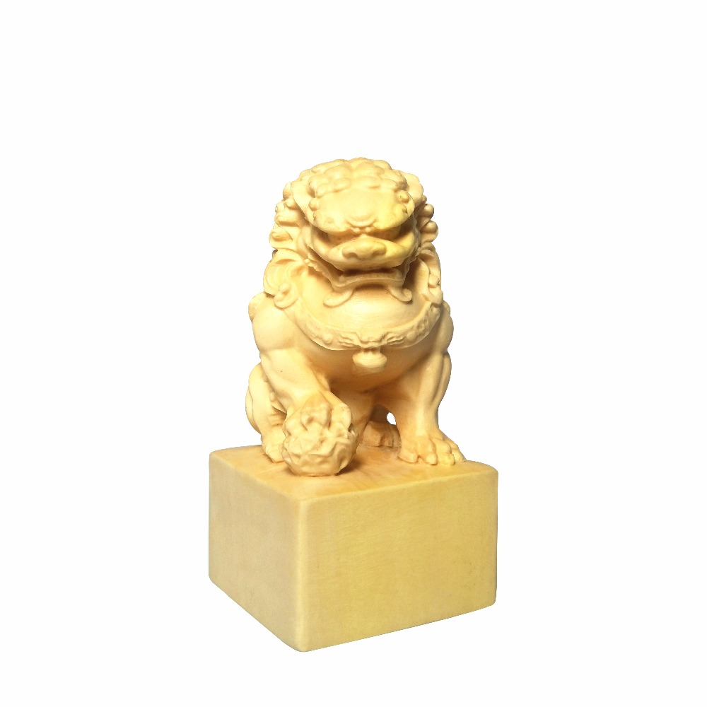 Boxwood carvings chinese stone lion statue for home handmade