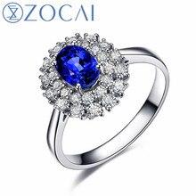 ZOCAI ring Au750 18K white gold 1.6 CT certified Genuine Sapphire diamond ring Gemstone jewelry fine jewelry