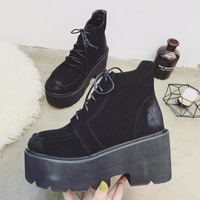 Fashion Black Boots Women New Autumn Lace up Thick Soled Platform Shoes Lady Party Ankle Boots High Heels MD 38