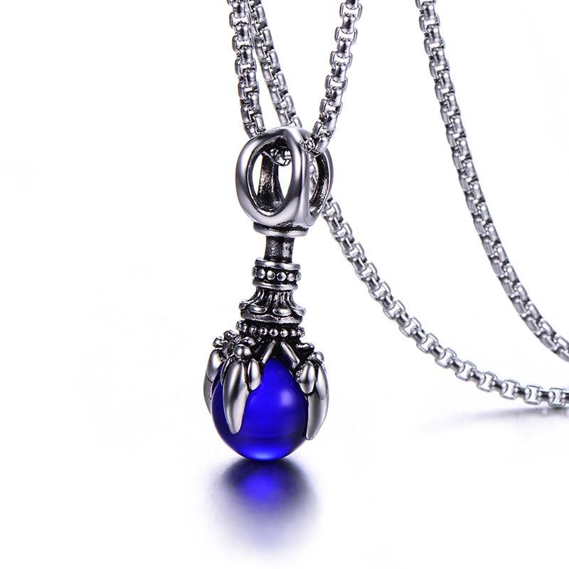 Stainless steel male pendant monster dragon claw vajra glass bead titanium steel man pendant necklace